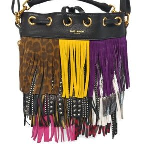 Saint Laurent YSL Multi Color Fringe Purse